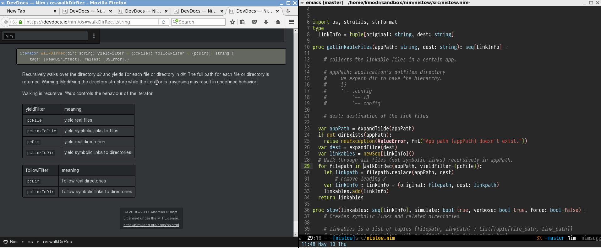 Figure 1: Click the above image to see the devdocs.io access from Emacs in action (GIF)