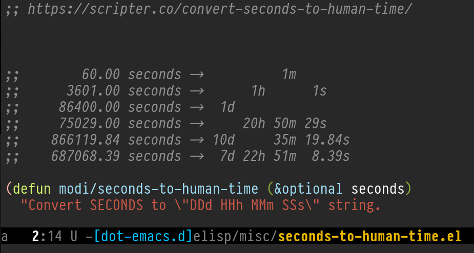 Figure 1: Screenshot of seconds-to-human-time.el in Emacs