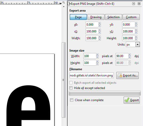 Inkscape - Export PNG Image